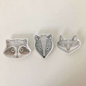 Animal face catch all trays fox raccoon